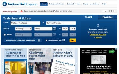 National Rail Enquiries Homepage